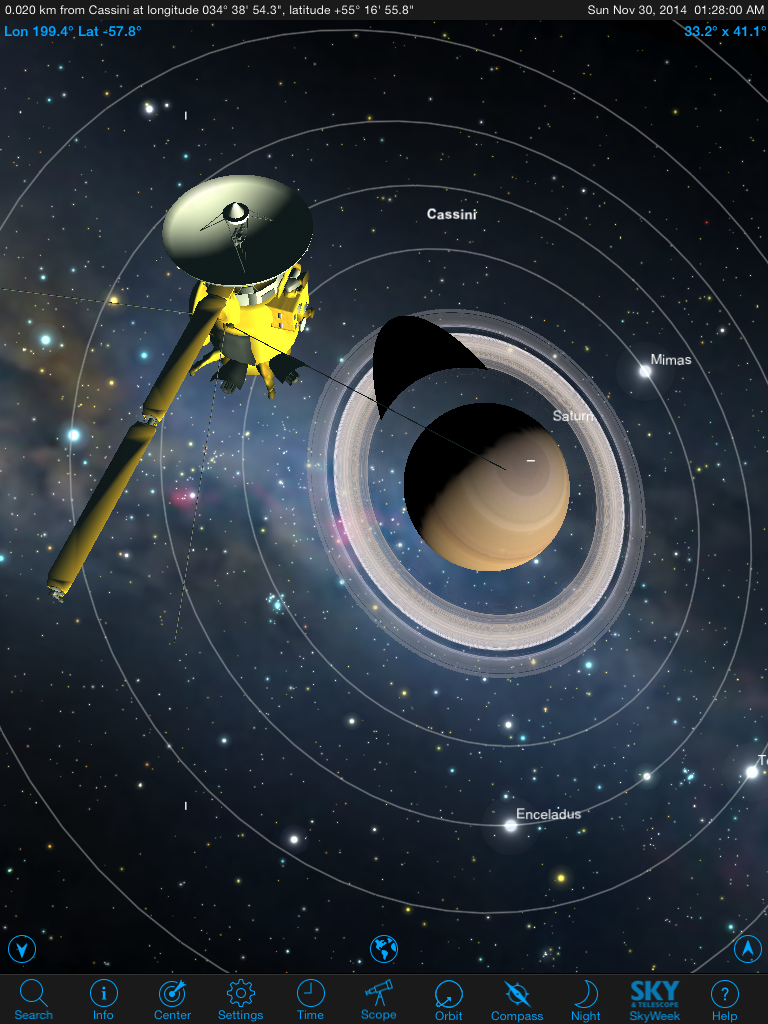 On an iPad's big screen there's lots of room to check out the planets and their moons. Here the Cassini spaceprobe heads for orbit around Saturn